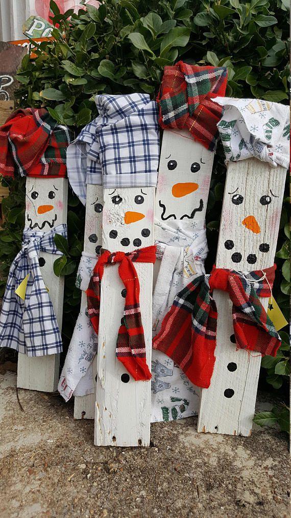 Pallet Wood Snowman, Wood Snowman decoration, Wood Christmas decor - outdoor snowman christmas decorations
