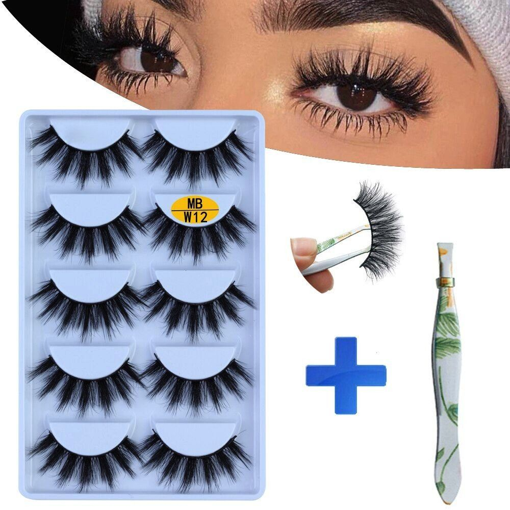5 pairs Mink Eyelashes Set 3D 100 False Lashes Makeup Eyelash Extension faux cils Natural fluff SHIDISHANGPIN 5 pairs mink eyelashes false eyelashes natural false lashes...