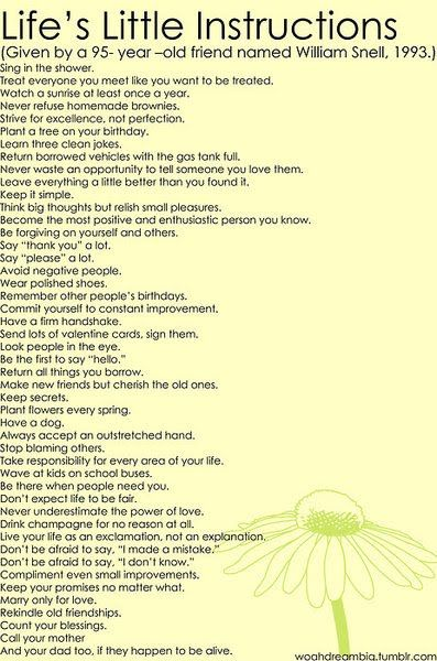 Lifes little instructions..by a 95 year old