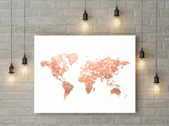Rose gold world map print pink and gold map art travel decor gold rose gold world map print pink and gold map art travel decor gold gumiabroncs Image collections