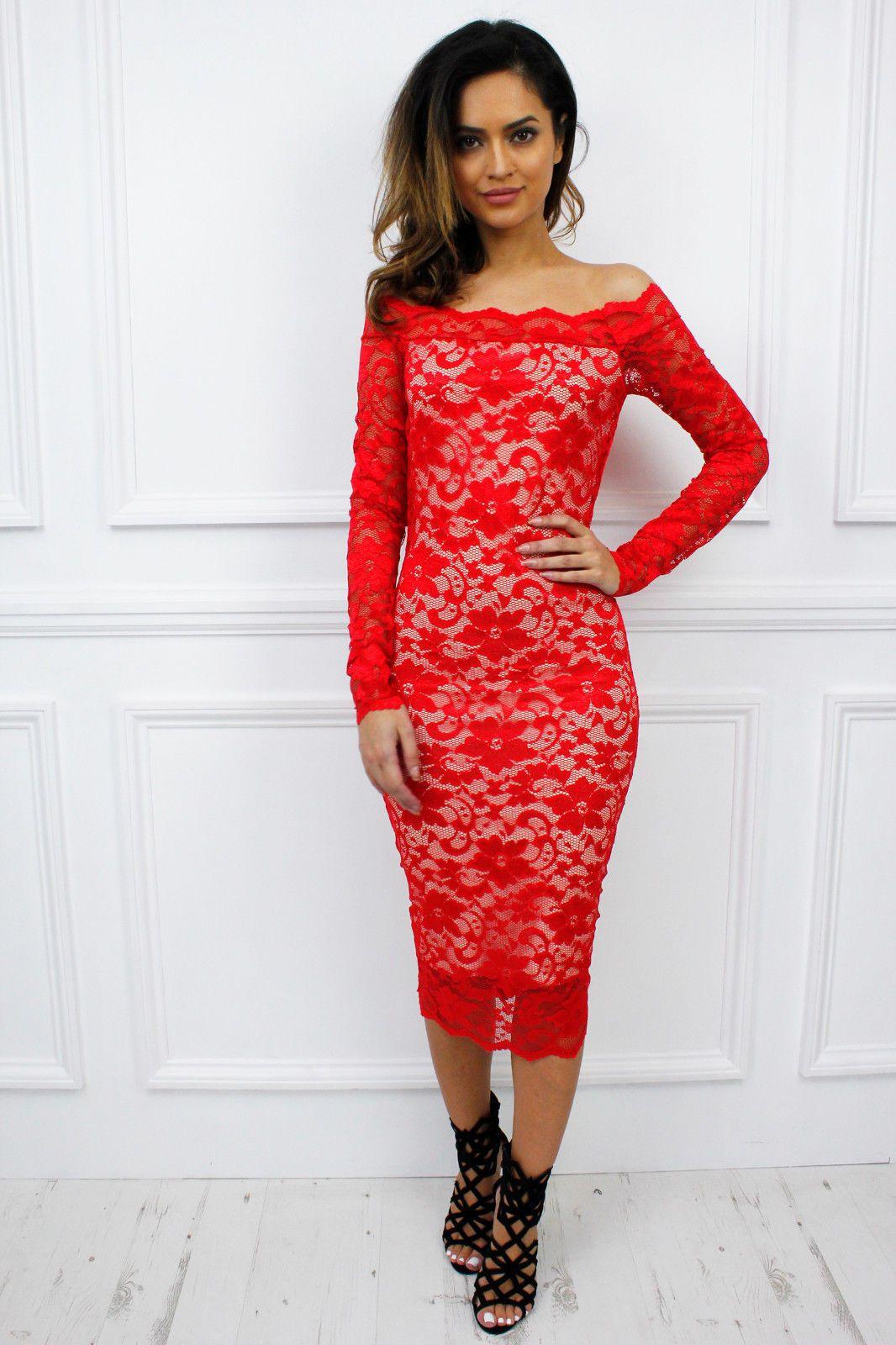 9eb52dc00566 UK Bardot Long Sleeve Midi Lace Bodycon Dress Glamzam New Womens Off ...
