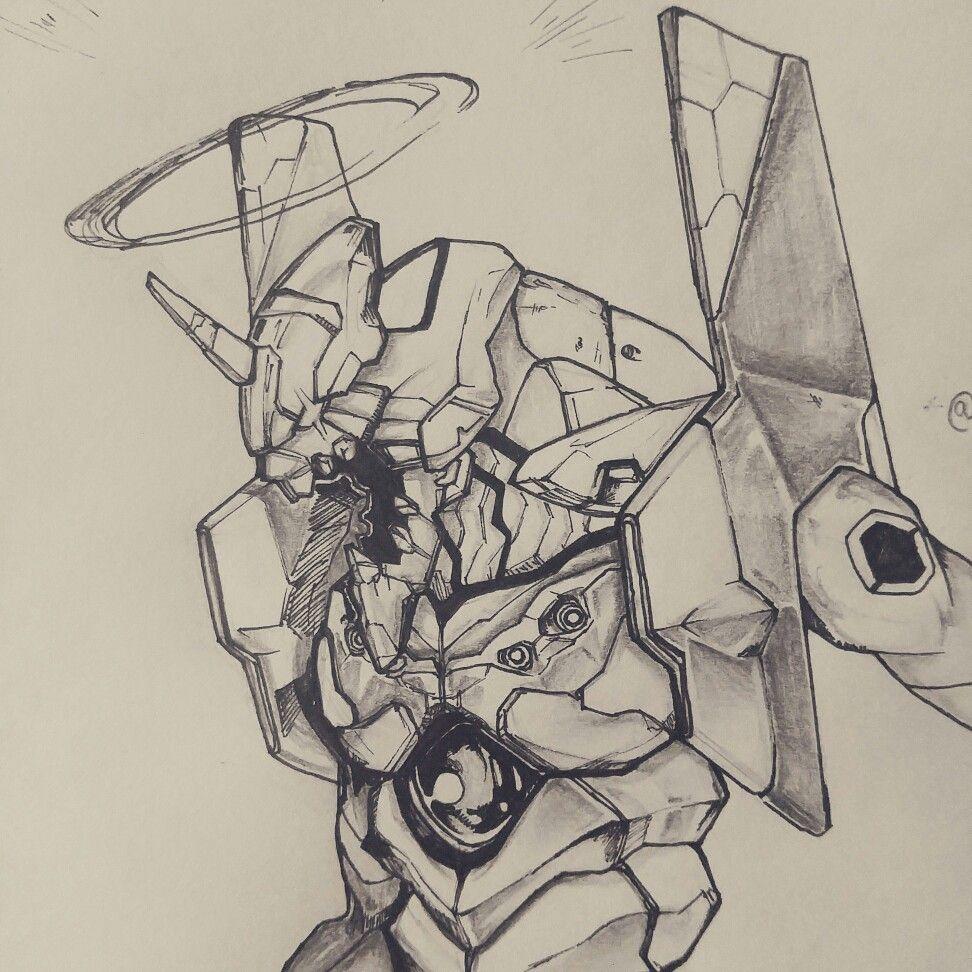 Instagram : @100daysofsketching  Evangelion  : Eva 01 sketch  #neongenesisevangelion #evangelion #eva #anime #myart