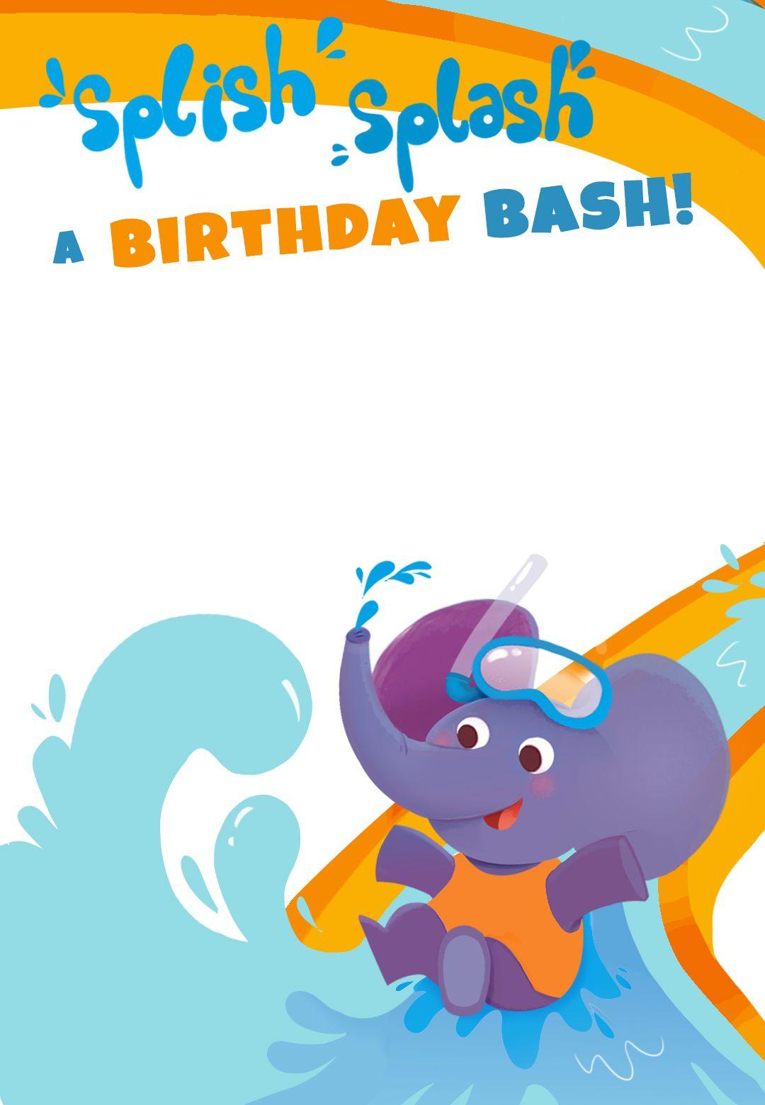 Splish Splash a Birthday Bash - Free Printable Birthday Invitation ...
