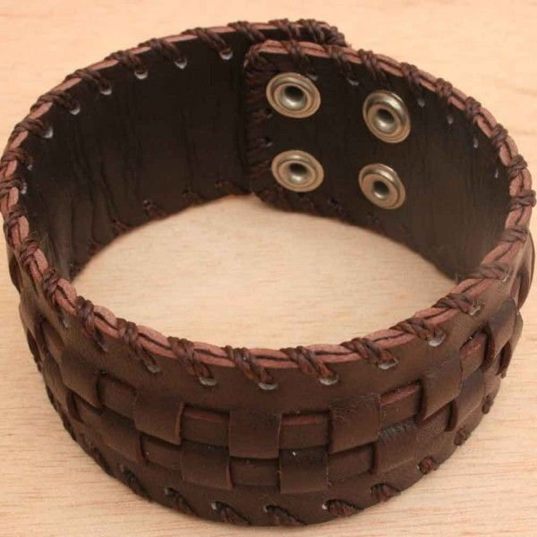 Mens Brown Leather Bracelet Cuff Perfect Gift For Him Jewelry Best Presents Men 2080