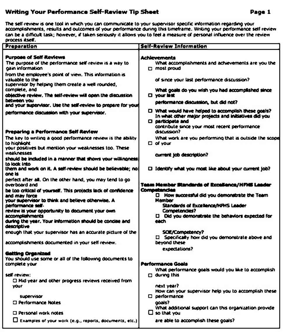 Self Performance Review Example For Pdf And Doc Performance Reviews Performance Evaluation Self