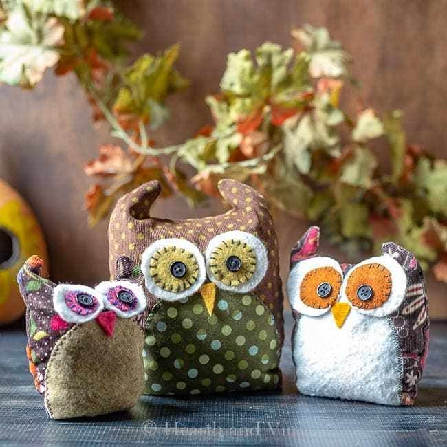 Sewing pattern: Scrap fabric owls