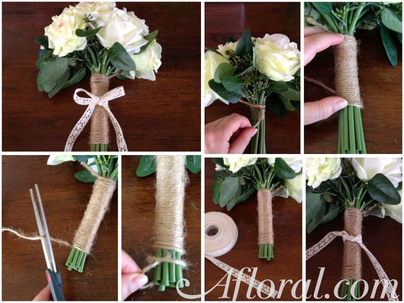 Wrap A Bouquet Diy How To Make This Jute With Silk Flower And Ribbon Bouquetwrap Diywedding Afldiy