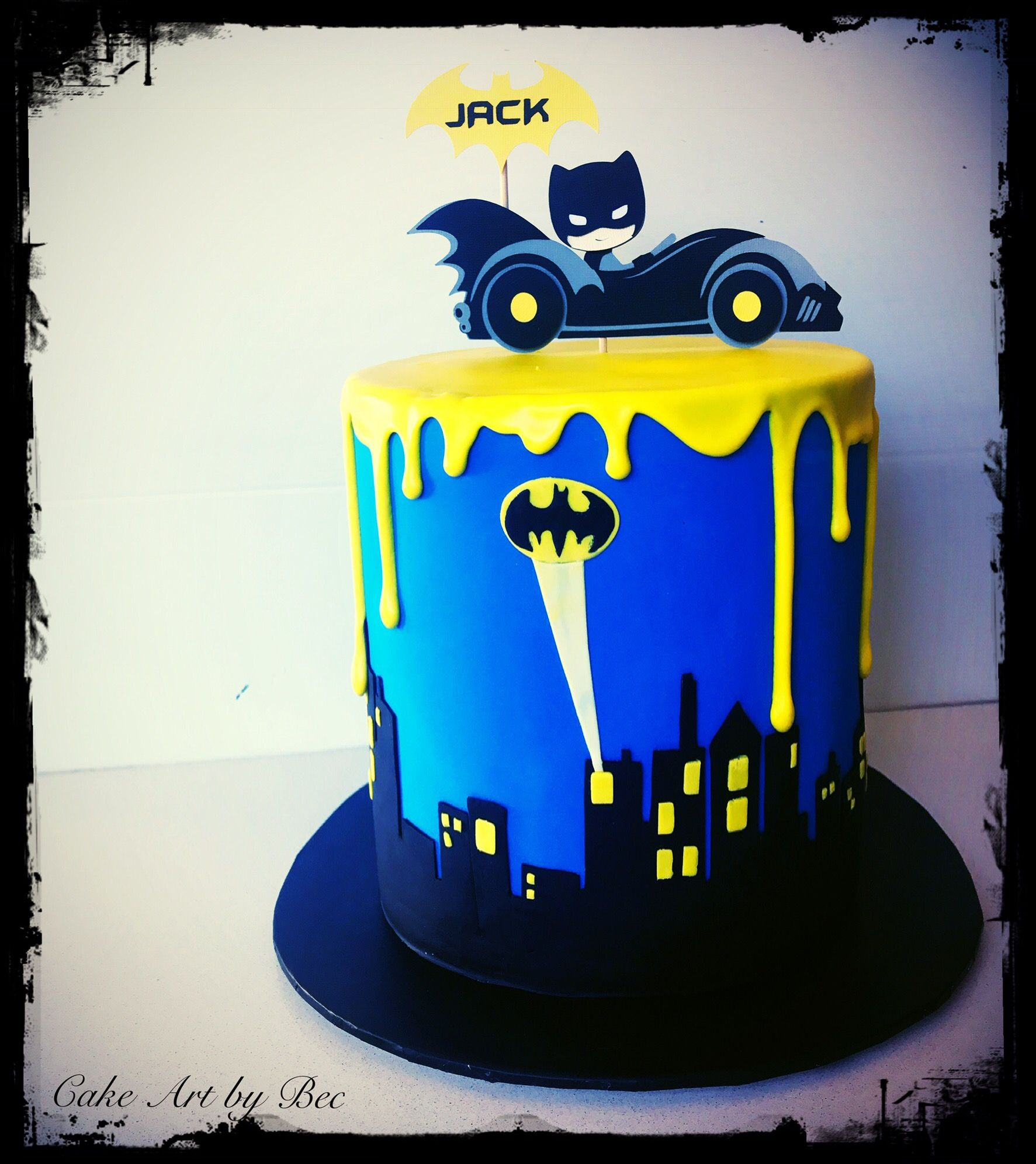 Batman cake by cake Art by Bec Cake topper by China doll party