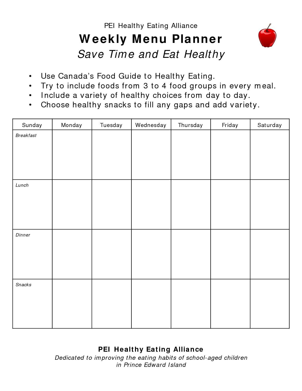 Blank Weekly Menu Planner Weekly menu planners, Weekly