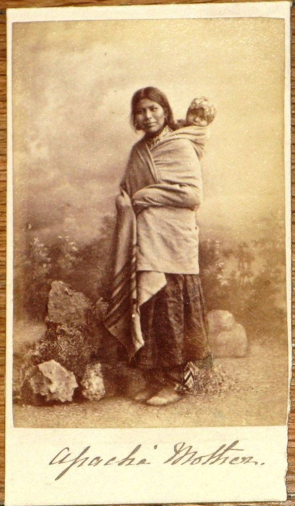 Apache Indian Mother Baby Photograph 1865