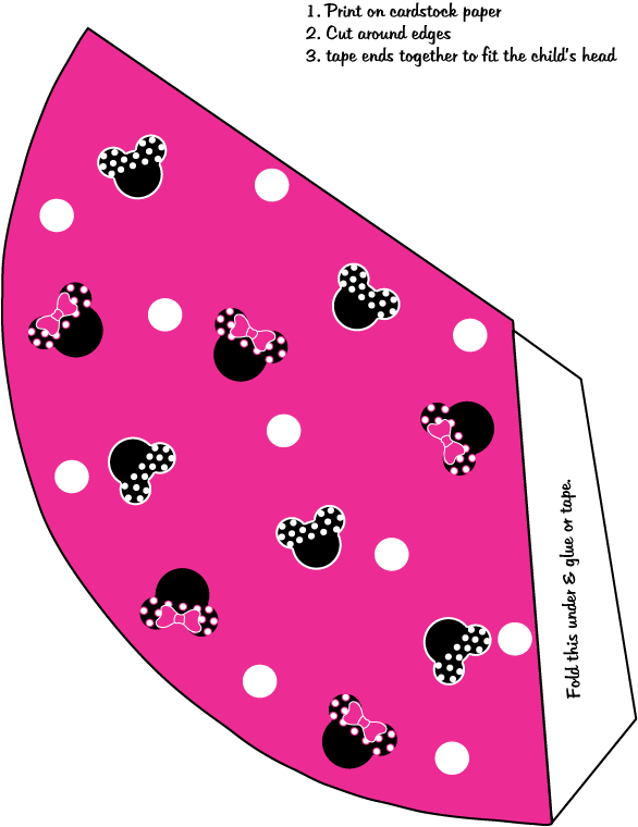 Minnie Mouse Party Hat Printables Party Hats Minnie Mouse Party