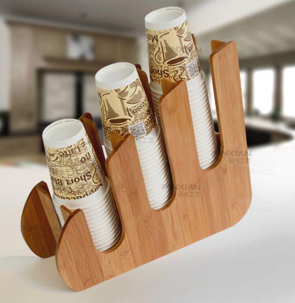 Paper Dixie Cup Lid Holder Dispenser Wood Organizer Coffee Shop