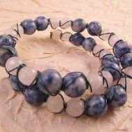 Bolivian Sodalite and White Quartzite Wire Wrapped Blue Memory Wire Bracelet