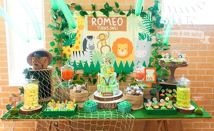 Romeos Jungle Safari themed First Birthday Dessert Table by AK