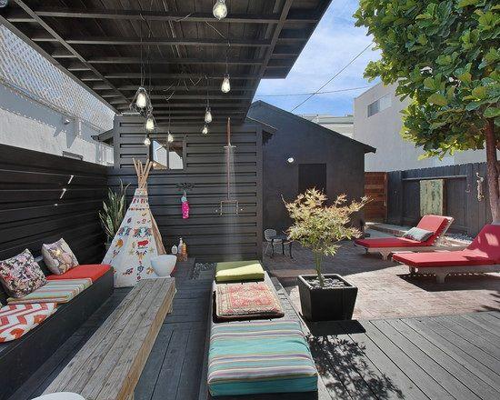 terrasse hinterhof ueberdachung sitzkissen sonnenliegen indianer - mediterrane terrassenberdachung