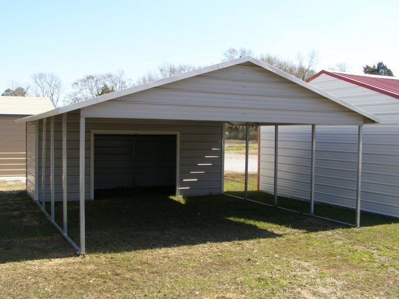 Double Carport For 2 Medium Cars With Utility Storage Ideal For