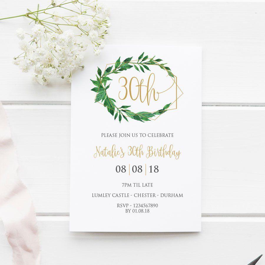 30th Birthday Invitation Printable Geometric Greenery 5x7 EDITABLE Template