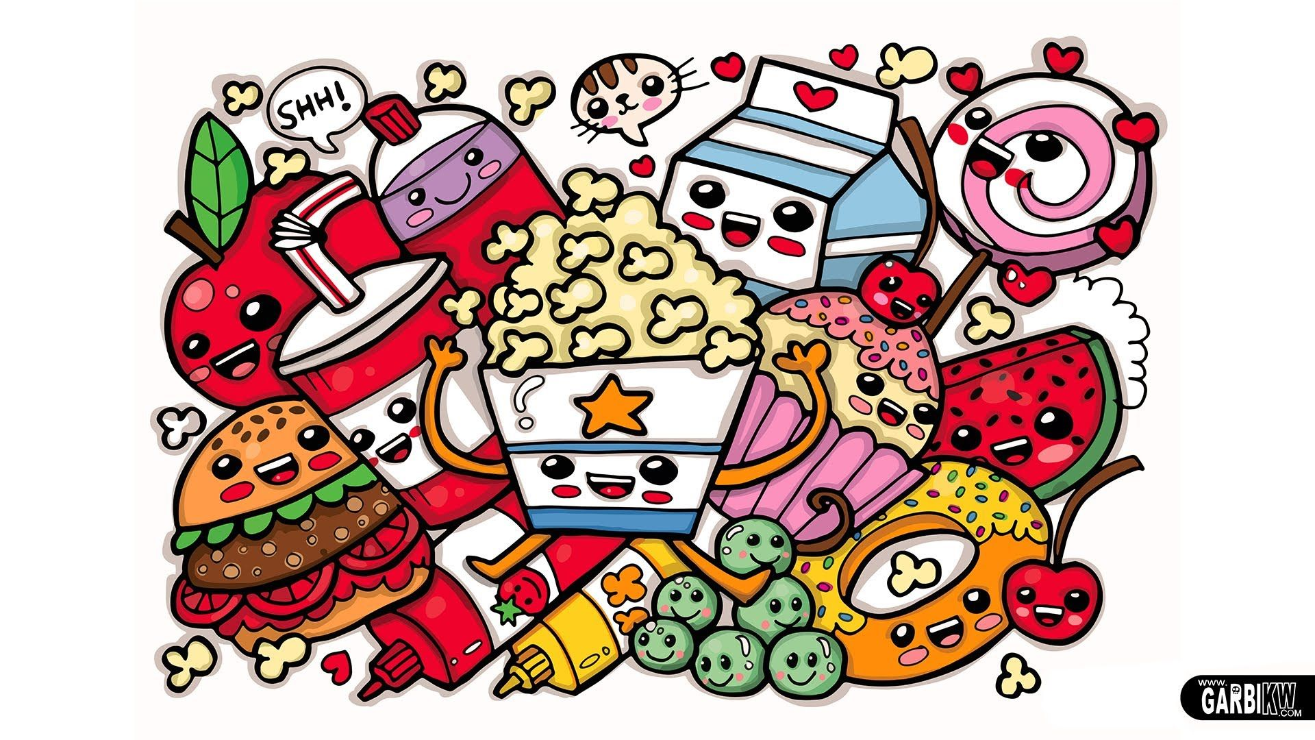 Coloring Cute Food Easy And Kawaii Graffiti By Garbi Kw In