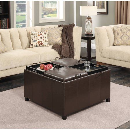 Designs4comfort Faux Leather Tail Storage Ottoman With 4 Tray Tops Espresso