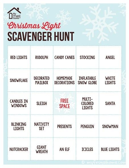 Printable Christmas Light Scavenger Hunt | Christmas lights ...