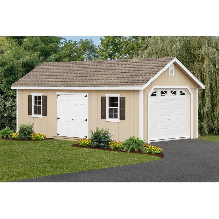 12 Ft W X 26 Ft D Solid Wooden Garage Shed Building A Shed Garage Shed Wooden Storage Sheds