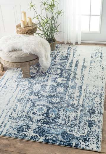 Rugs USA Blue Aerial Muted Flourish rug - Traditional Rectangle 8\' 6 ...