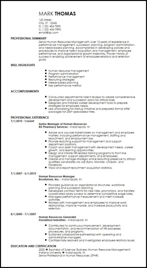 inspiring human resource resume template gallery free