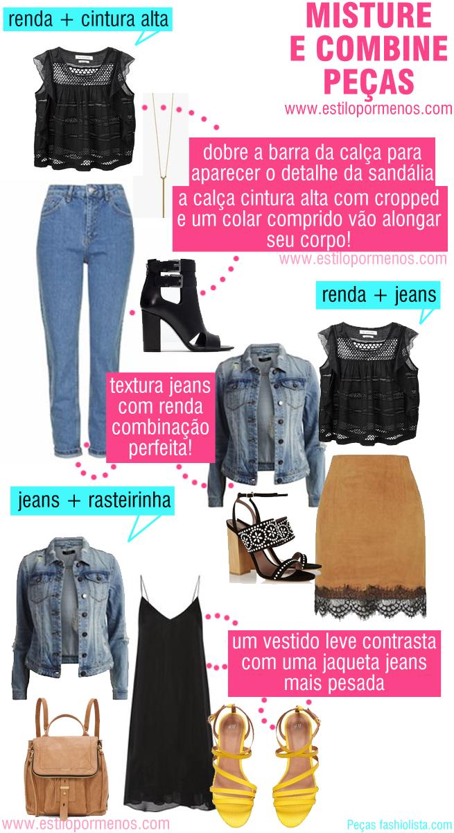 Estilo por menos: Misture e Combine peças: renda, jeans e rasteirinh...