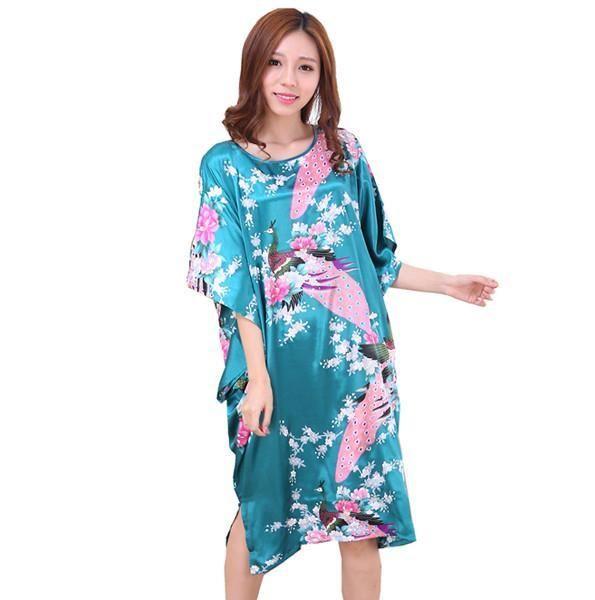 0a4d5cee21723 Novelty Print Satin Robe Dress - Novelty Women's Bath Gown | Silk ...
