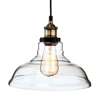 Firstlight 'Empire' Single Light Ceiling Pendant, Antique Brass Finish & Clear Glass Shade - 3472AB