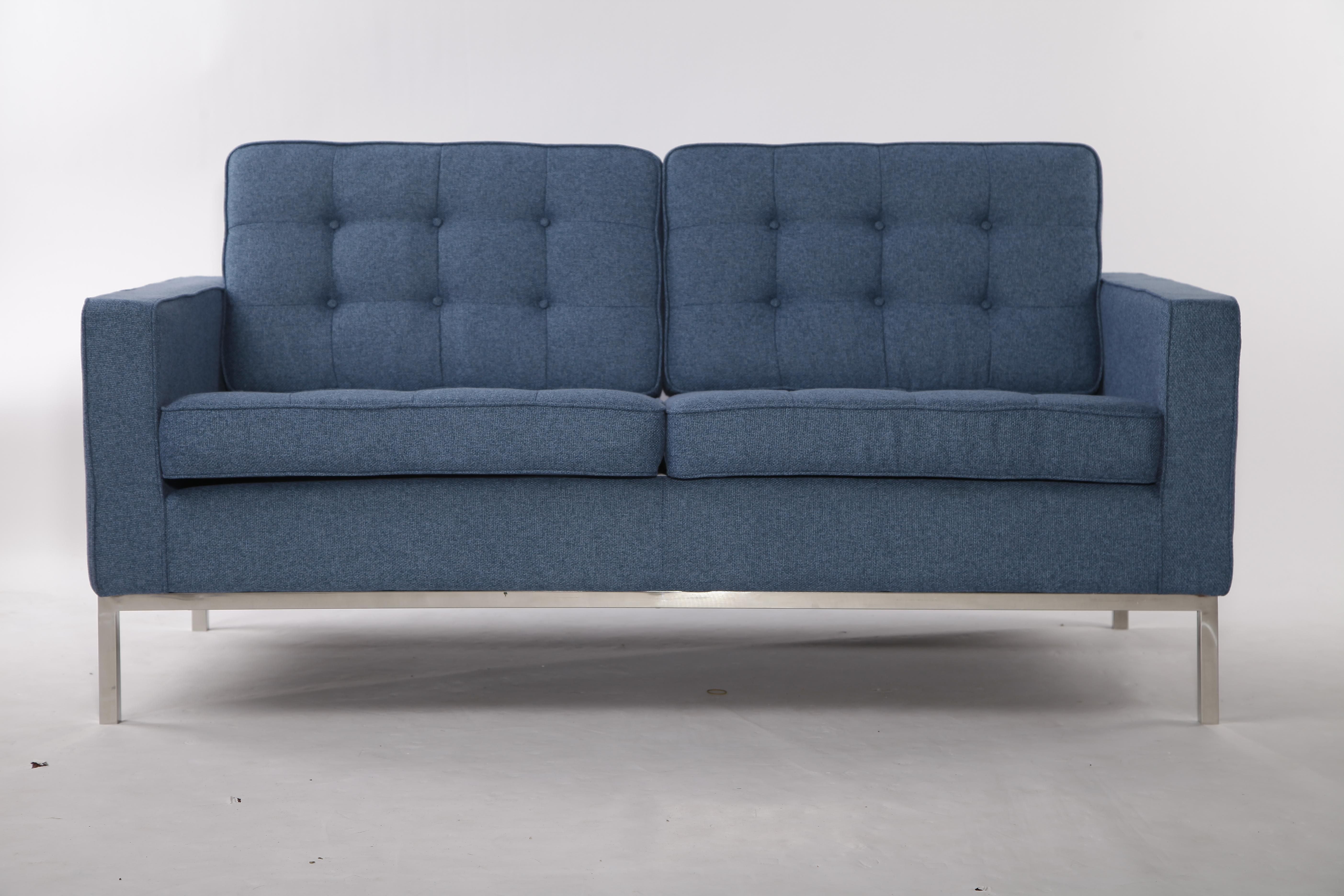 Florence Knoll Sofa Replica 2 Seater In Blue Tweed