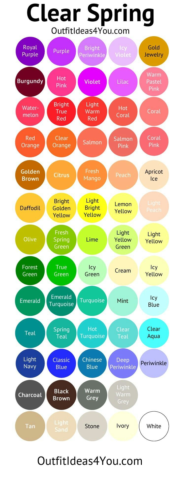 Bright Spring Color Palette With Names