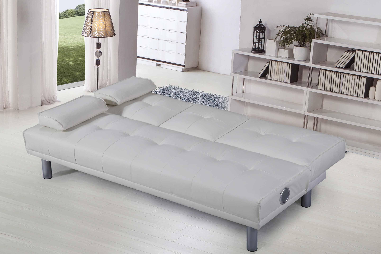 White 2 / 3 Seater Click Clack Single Small Sofa Bed