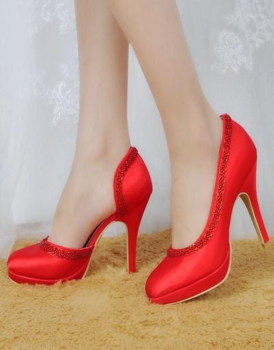 5d8a91ed525 Elegant anpassnings nya vattentäta skor högklackade satin pärlstav bröllop  skor till m _balklänningar online