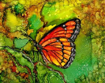 Alcohol Ink Print - 8x10 or 5x7.- Alcohol Inks - AIArt- Butterfly
