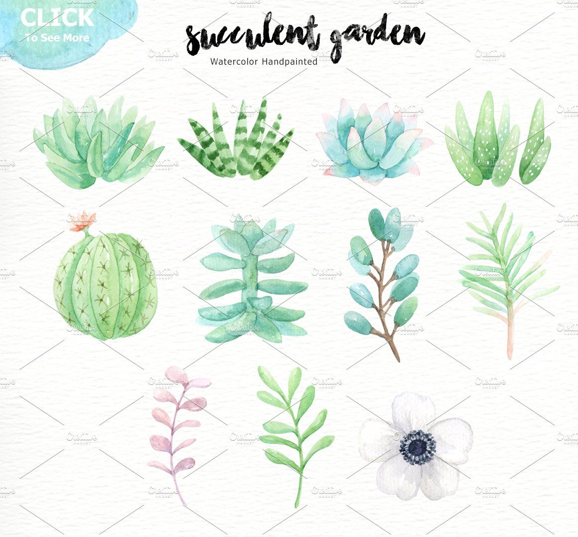 Succulent Garden Watercolor Cliparts Garden watercolor