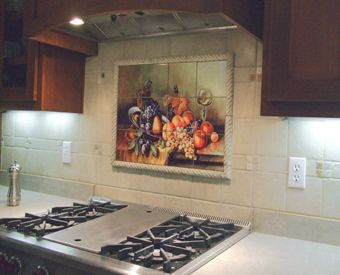 This Gorgeous Fruit Themed Tile Mural Is Perfect To Use Behind A Stove Clic Artpiece It Goes Great With The Surrounding Field Tiles