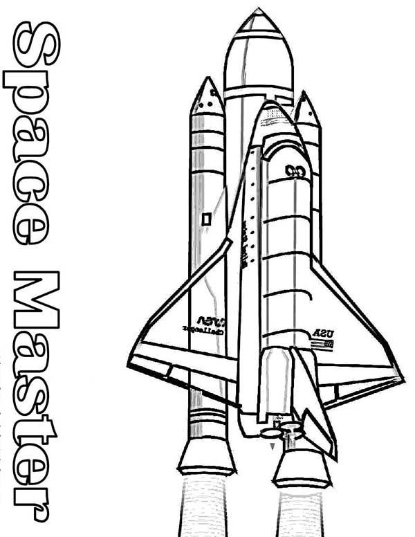 space shuttle    nasa space shuttle and its rocket booster coloring page