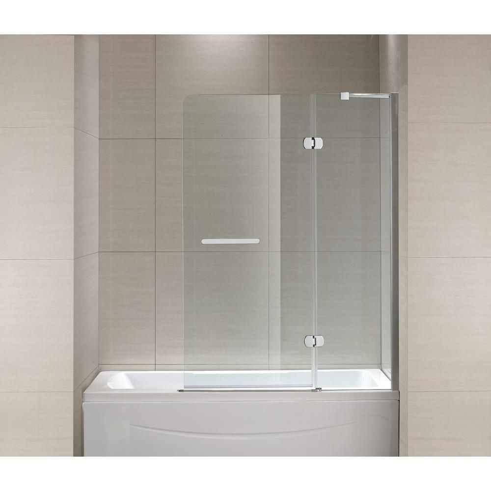 Schon Mia 40 In X 55 In Semi Framed Hinge Tub And Shower Door In Chrome And Clear Glass Shower Doors Tub And Shower Doors Tub Shower Doors