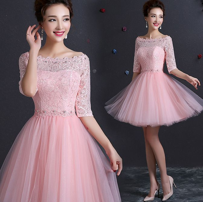 New Pink Lace Bridesmaid Wedding Dress Short Formal Prom Evening ...
