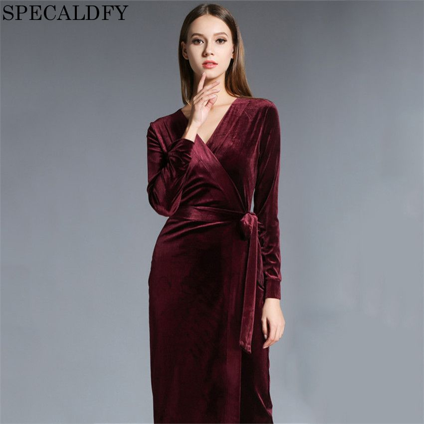 aea02c2fd53 ... aac13ba77fad8 2018 Spring Winter Dresses Women Long Sleeve Vintage Red  Velvet Dress Runway Sexy Evening Party ...