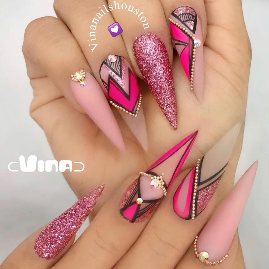 Vinchen Tran On Instagram Nails Done By Vinanailshouston Join Us In New Jersey Class On May 6 Stilleto Nails Designs Stiletto Nails Designs Pink Nails