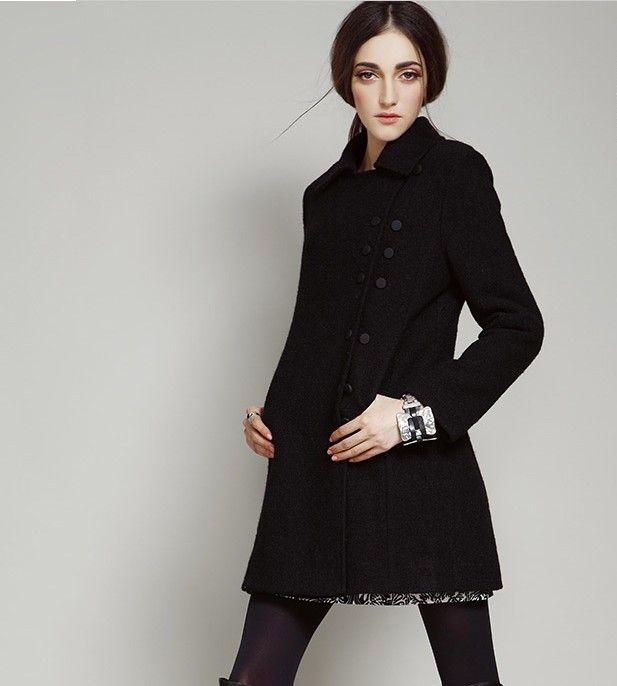 Women Warm Wool Coat Jacket Black D | Wool coats, Winter style and ...