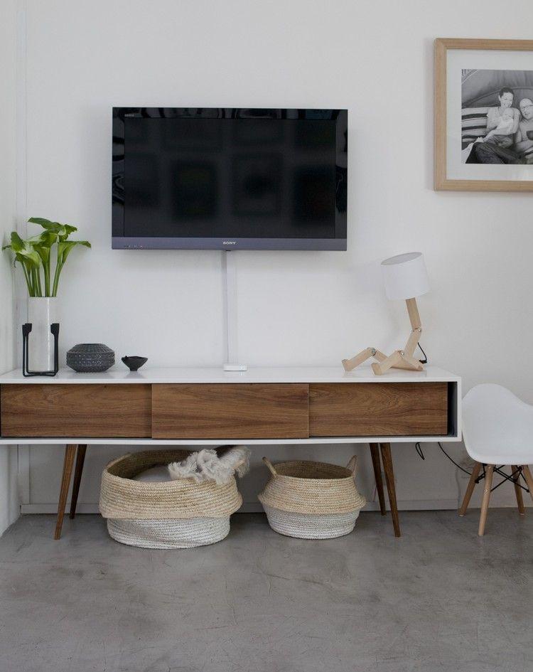 Meuble Tv Scandinave Blanc Bois Tiroirs Pietement Apparent Bois Meuble Tv Scandinave Meuble Tv Mobilier De Salon
