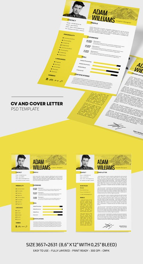 CV and Cover Letter Resume Template in PSD Free PSD