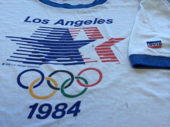 2f647562d08 1984 LEVI S LA OLYMPICS Vintage T Shirt  Rare 80 s Sponsored Los ...