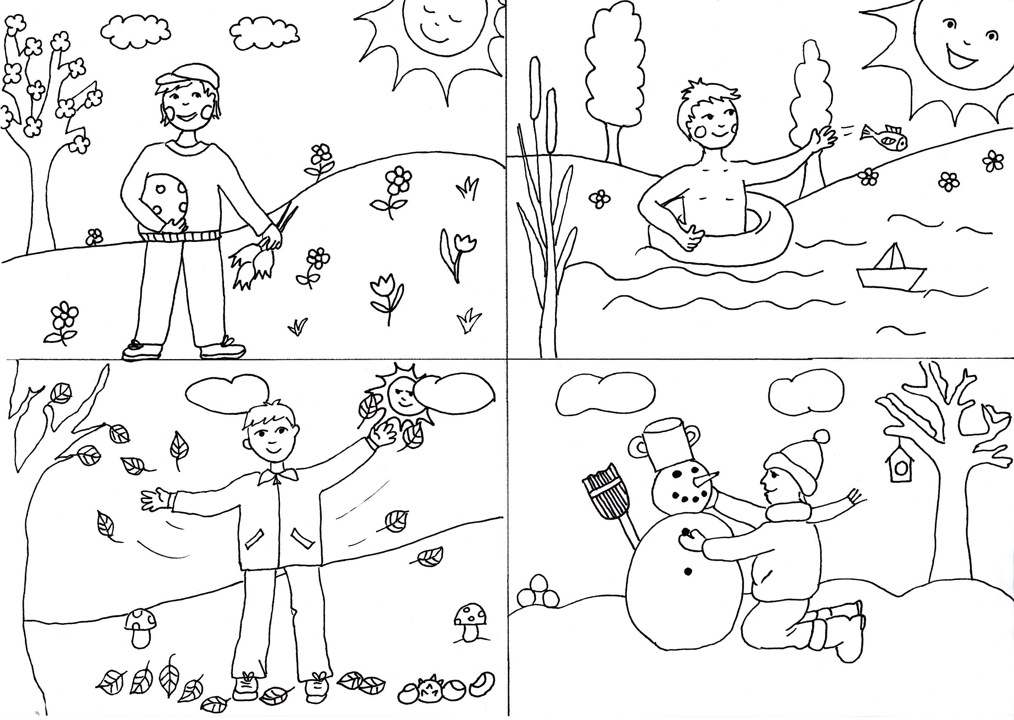 Színező - évszakok   Időjárás, évszakok   Pinterest   Jahreskreis ...
