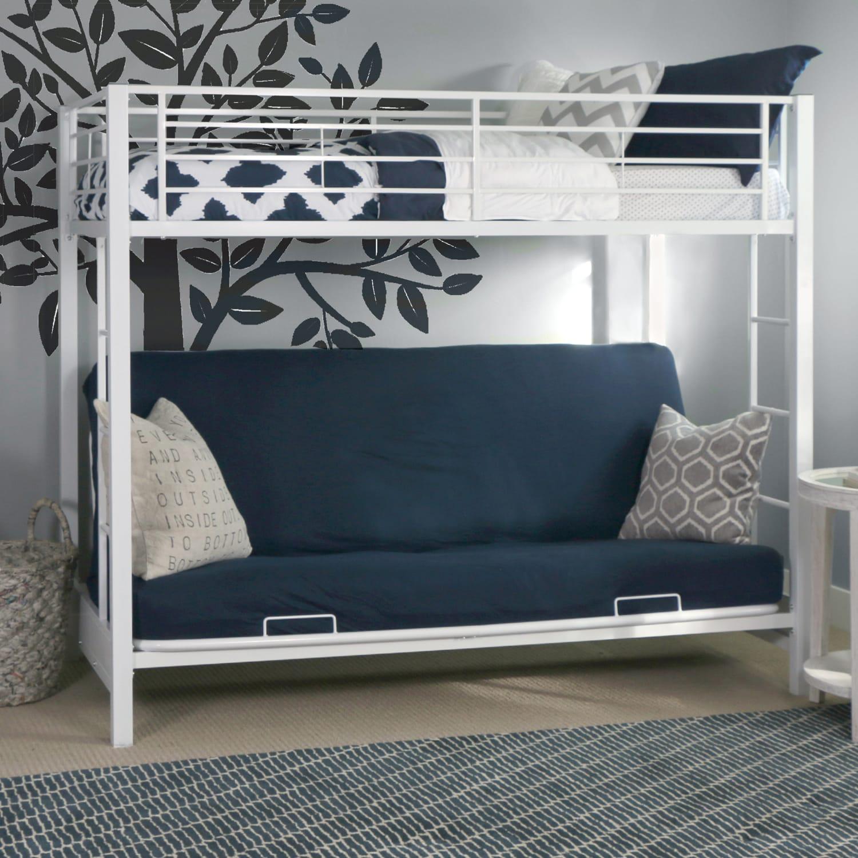 Kids White Metal Twin Over Futon Bunk Bed Metal bunk