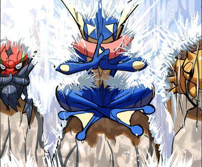 Accelgor, Greninja, and Shedinja http://alternative-pokemon-art.tumblr.com/post/92704859216/gamekyuubey-by-uka