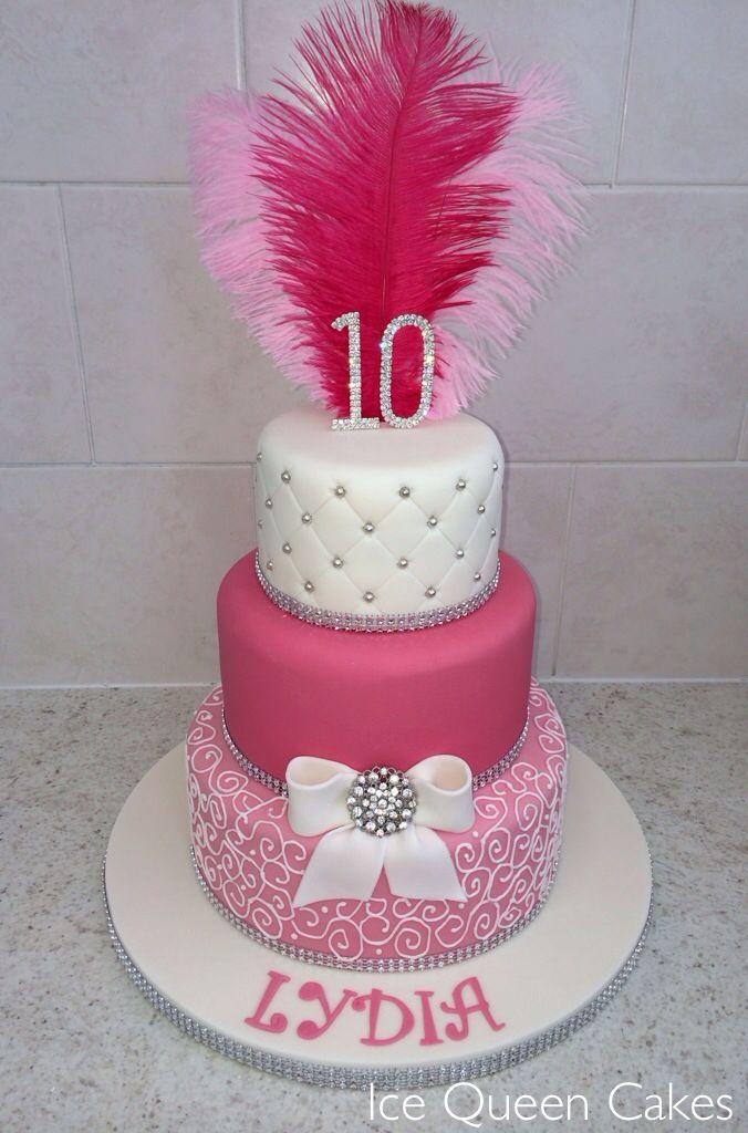 Pink Amp Sparkly Birthday Cake Kids 7th Birthday